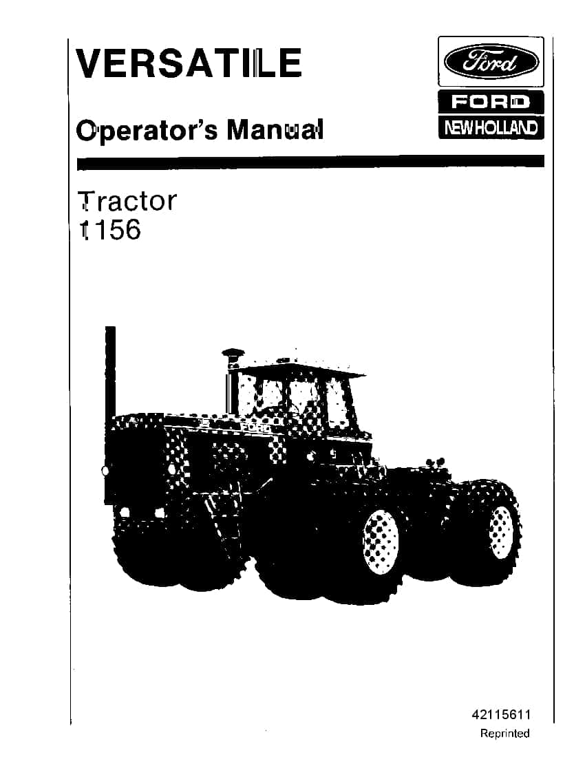 New holland 1156 Versatile Tractor operator manuals PDF