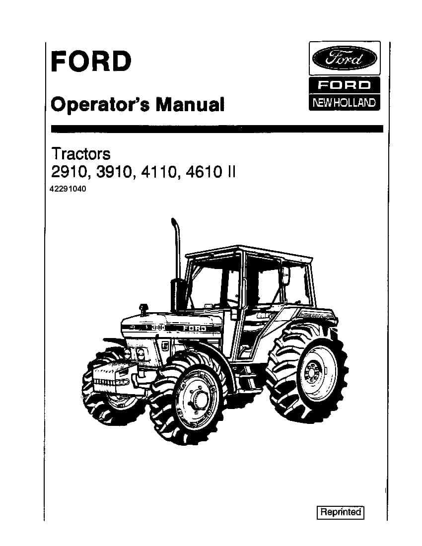 New holland 2910, 3910, 4110, 4610 II Cab operator manuals