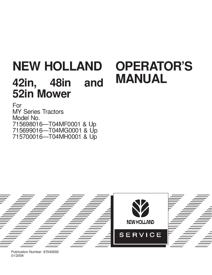 New holland 42 48 52 Mower for MY Series Tractor operator