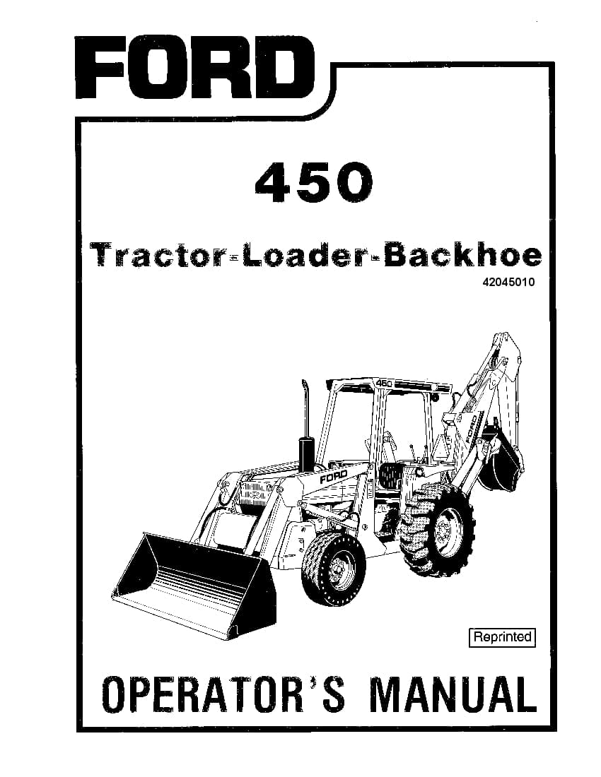 New holland 450 Tractor Loader Backhoe operator manuals