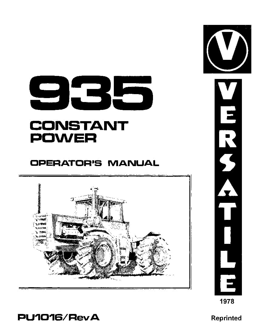 New holland 4WD 935 Tractor 1978 operator manuals PDF