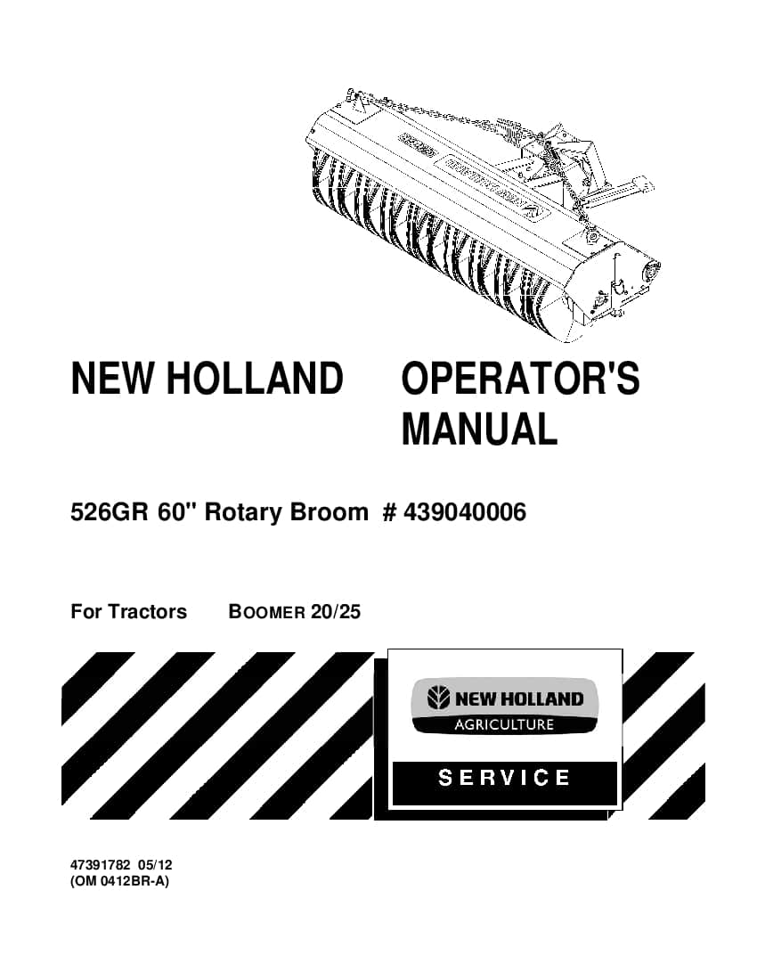 New holland 60 Rotary Broom operator manuals PDF Download