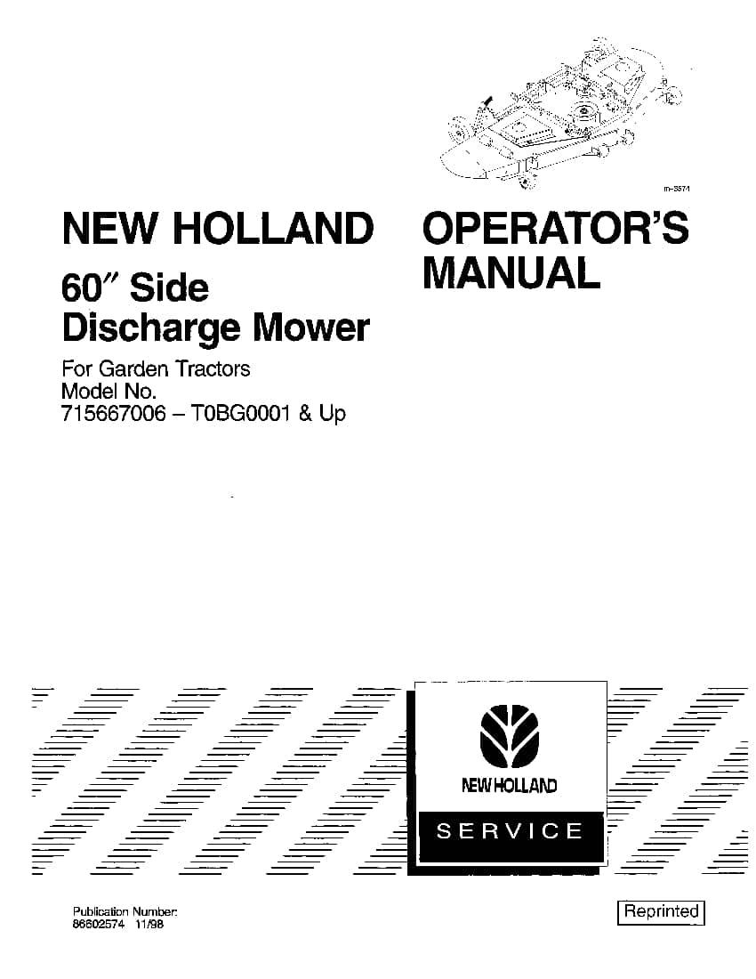 New holland 60 Side Discharge Mower Deck for Garden