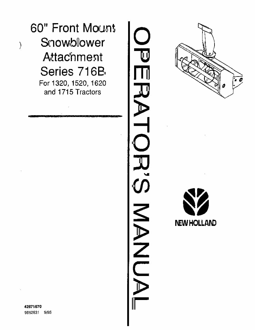 New holland 716B 60 Inch snowblower Attach operator