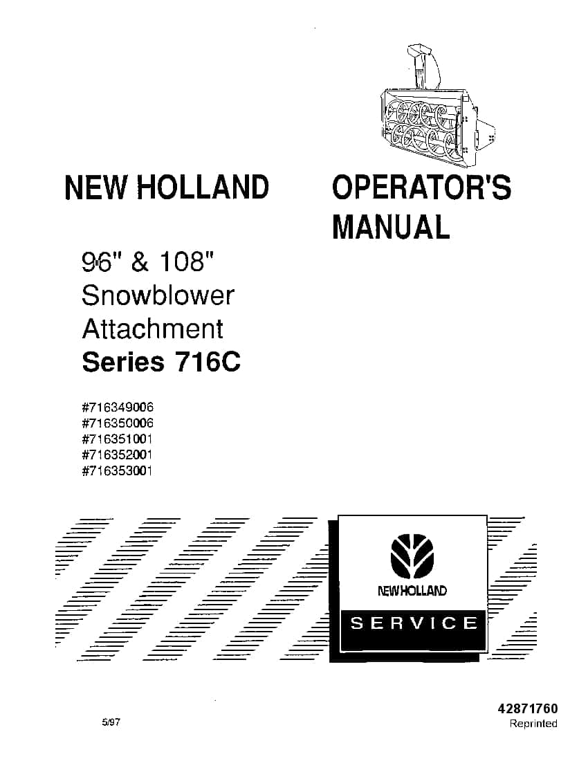 New holland 716C Snowblower 96 108 Attachment operator