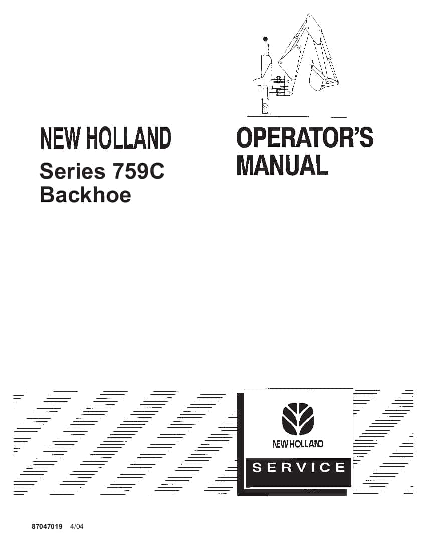 New holland 759C Series Backhoe operator manuals PDF