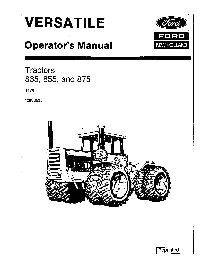 New holland 835 855 & 875 4WD 1978 Tractor operator