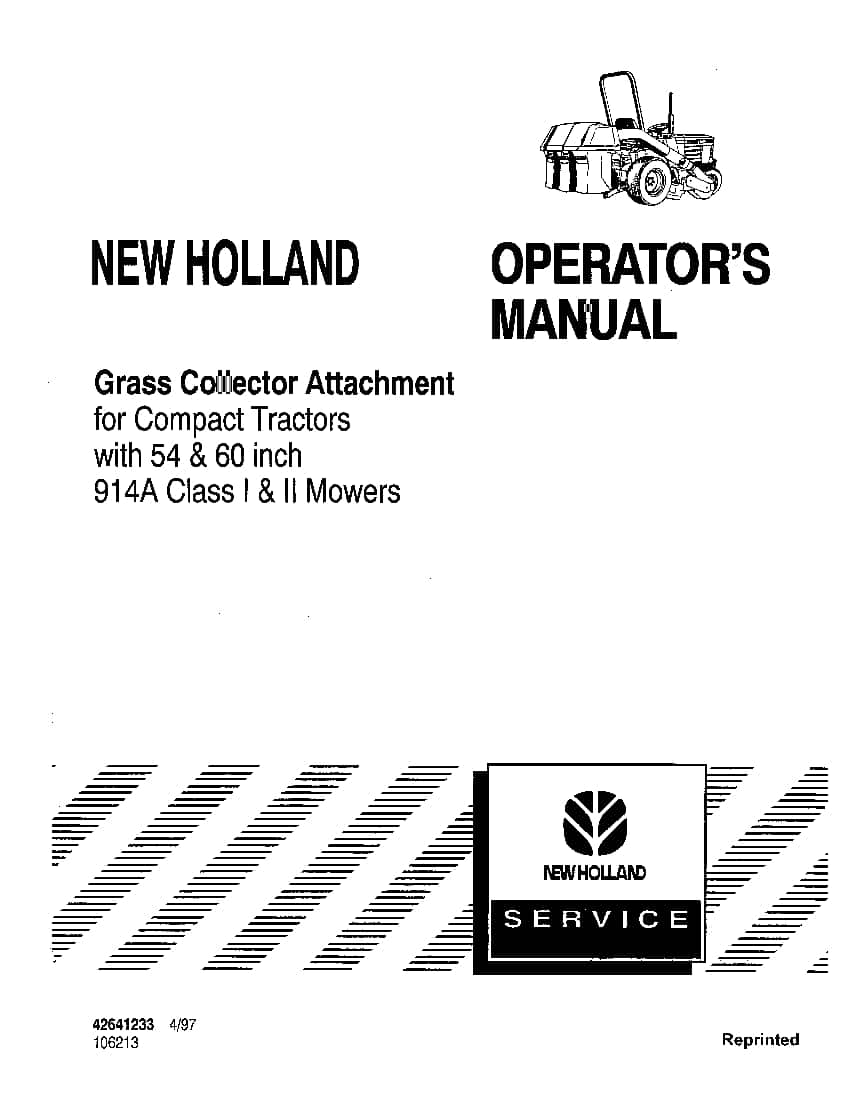New holland 914A Class I and II Grass Collector For