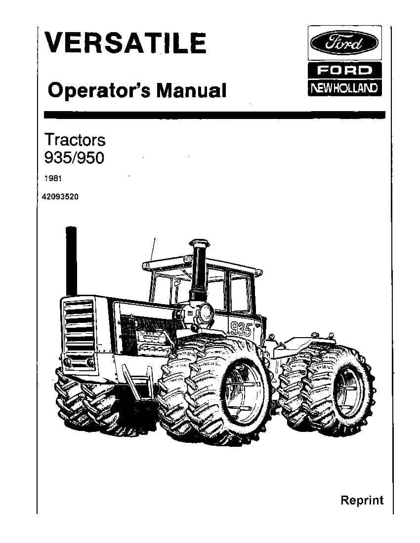 New holland 935 & 950 4WD Tractor 1981 operator manuals