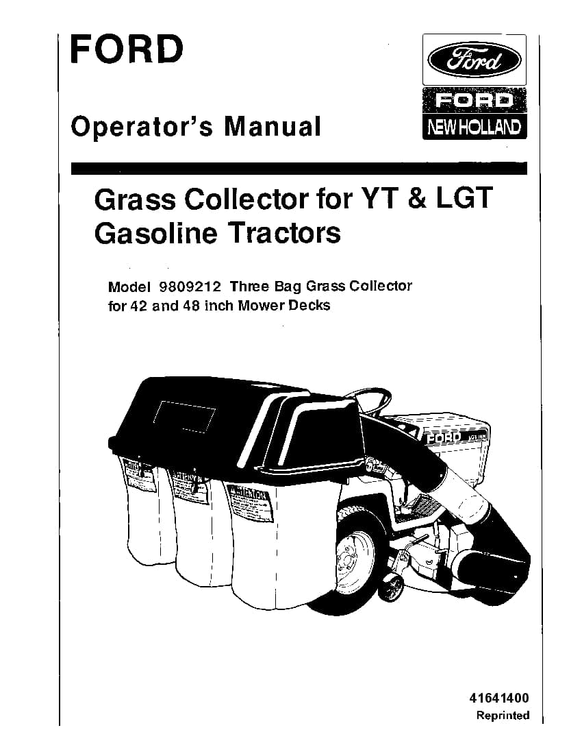 New holland Bag Grass Catcher for YT and LGT Gas Tractors