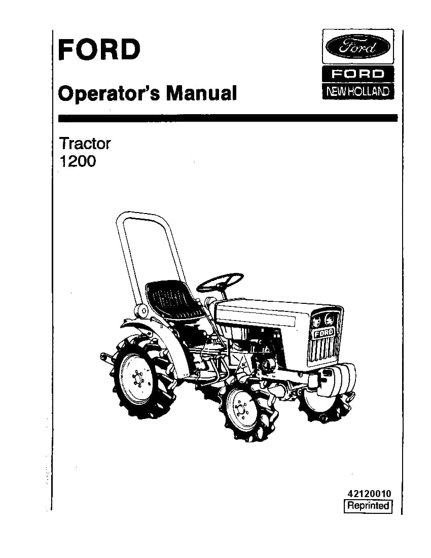 New holland Ford 1200 Tractor operator manuals PDF