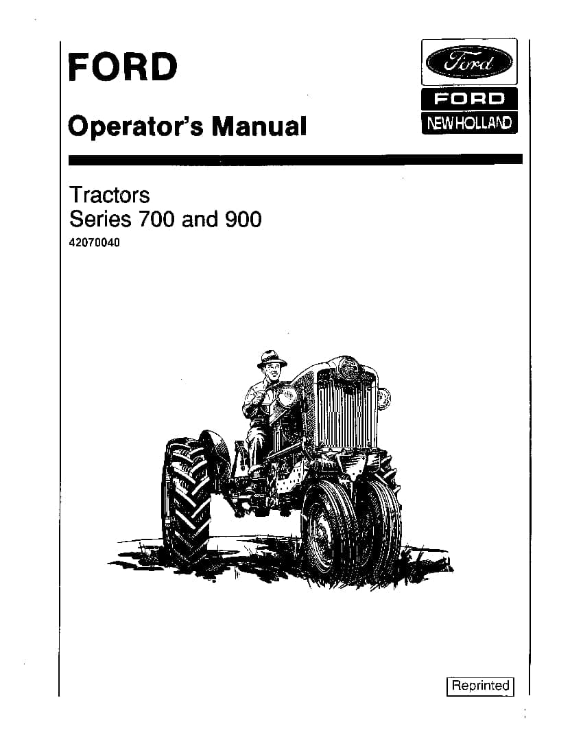 New holland Ford 700 900 Series Tractor 1955-1957 operator