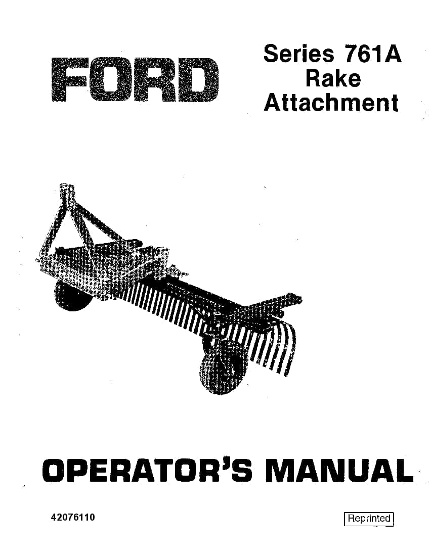 New holland Ford 761A Rake operator manuals PDF Download