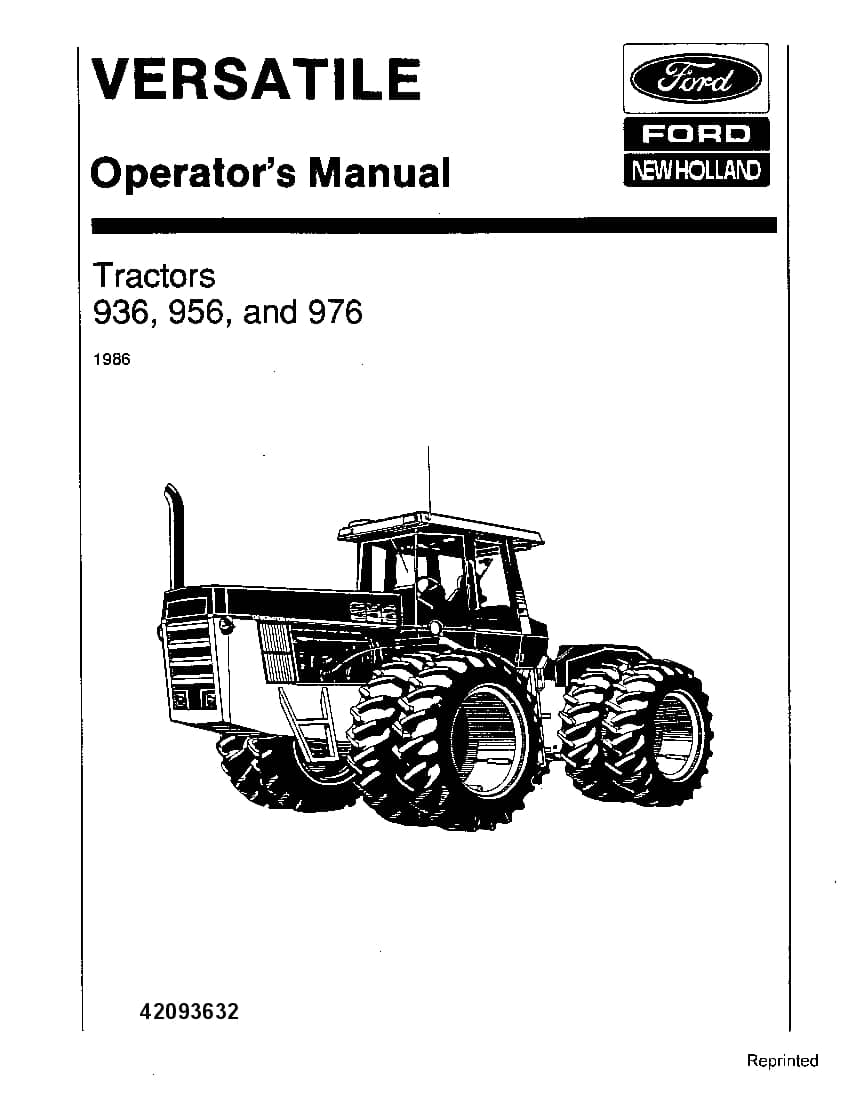New holland Ford 936 956 976 Tractors operator manuals PDF