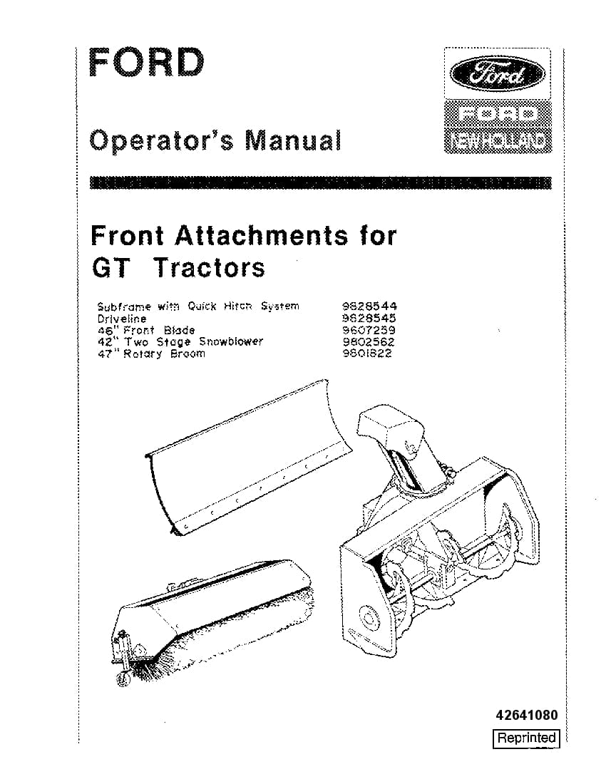 New holland Ford Front Attachments for GT operator manuals