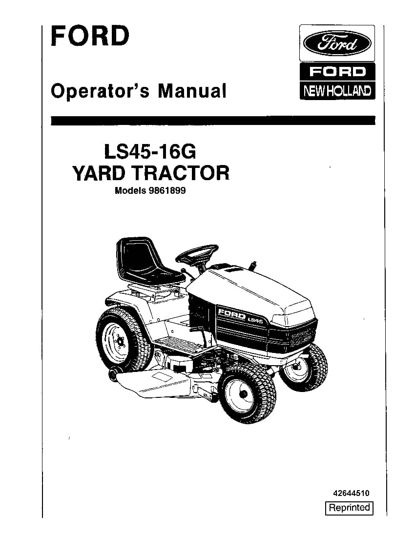 New holland Ford LS45 16G YT operator manuals PDF Download