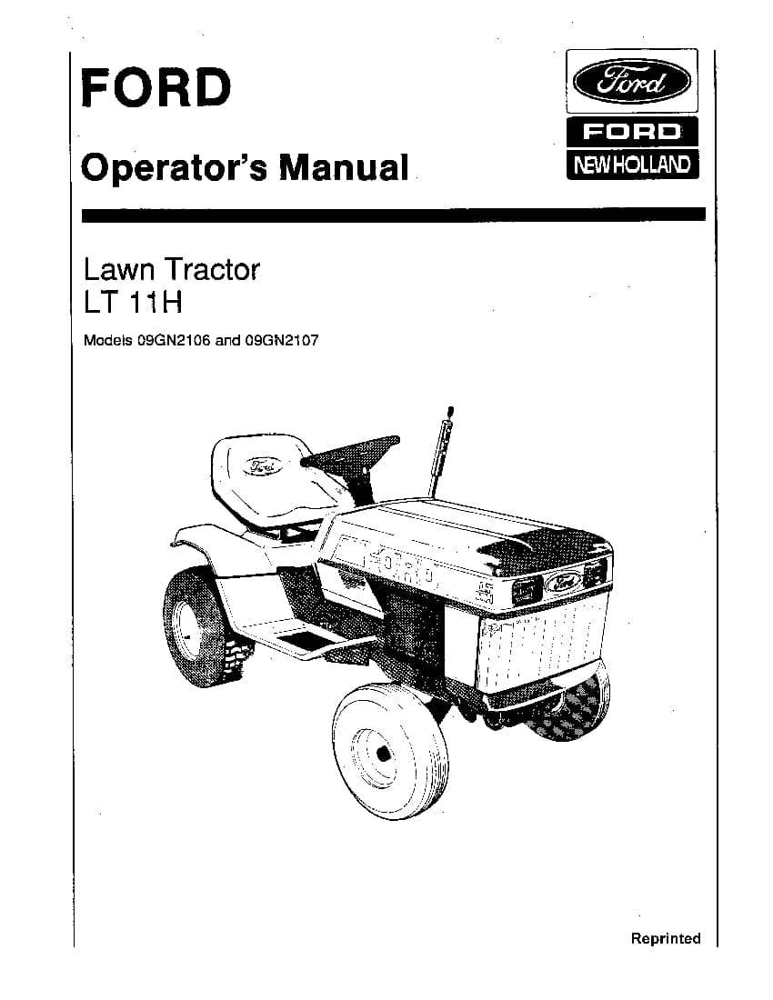 New holland Ford LT 11h Lawn Tractor 1985 operator manuals