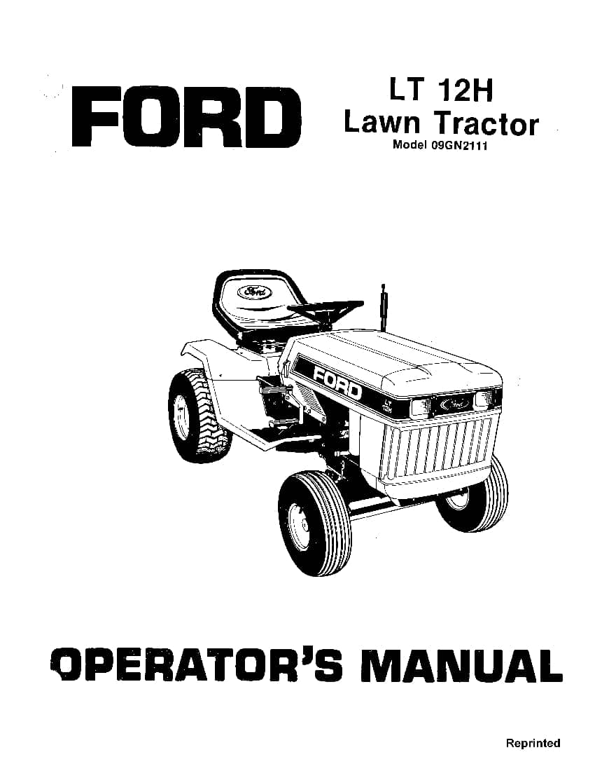 New holland Ford LT 12H Lawn Tractor operator manuals PDF