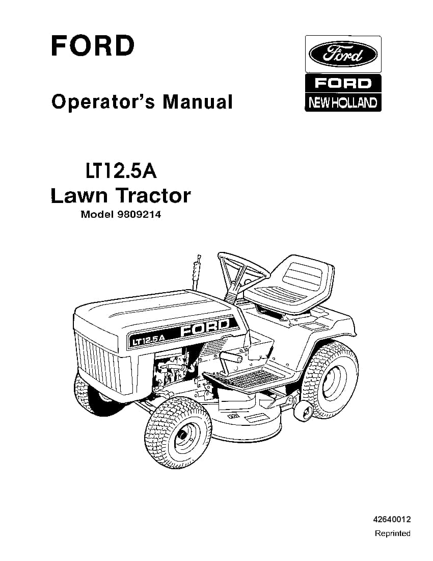 New holland Ford LT12 5A Lawn Tractor operator manuals PDF