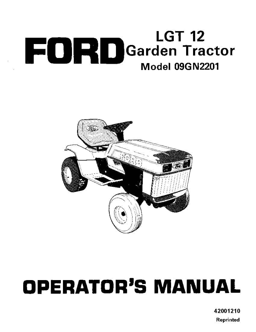 New holland Ford Lgt 12 Garden Tractor operator manuals