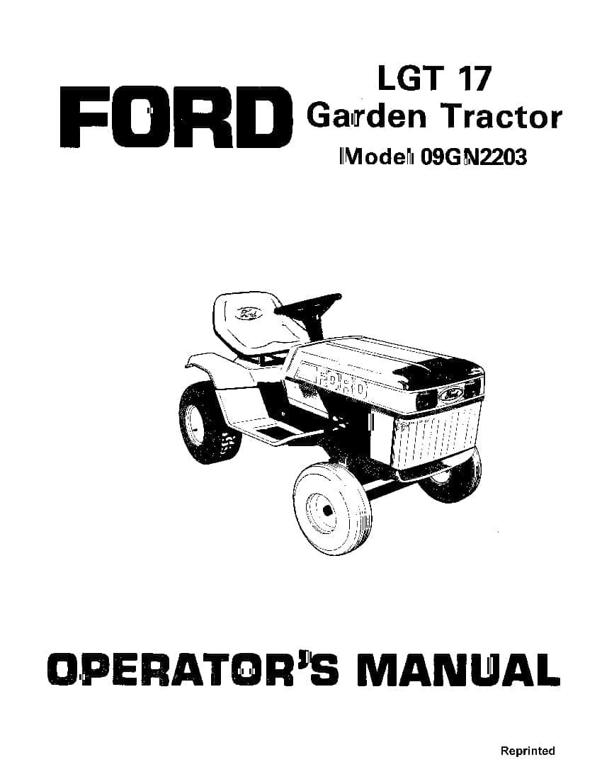 New holland Ford Lgt 17 Garden Tractor operator manuals