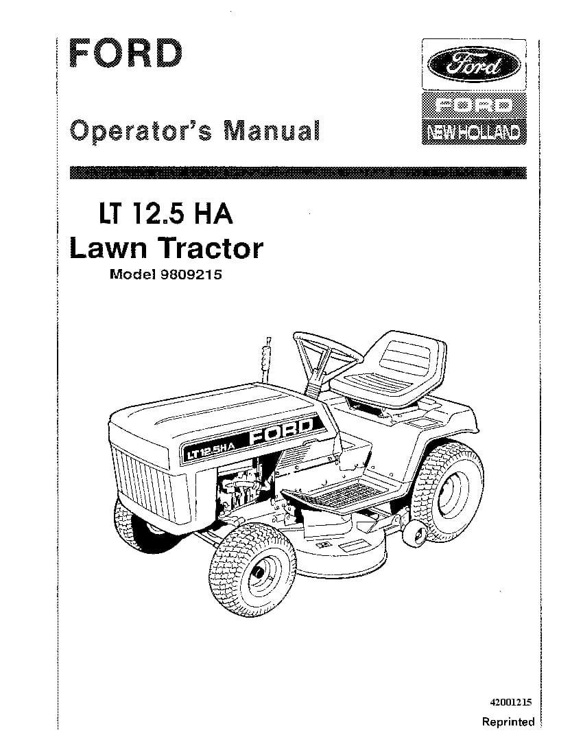 New holland Ford Lt 12.5 HA Lawn Tractor operator manuals