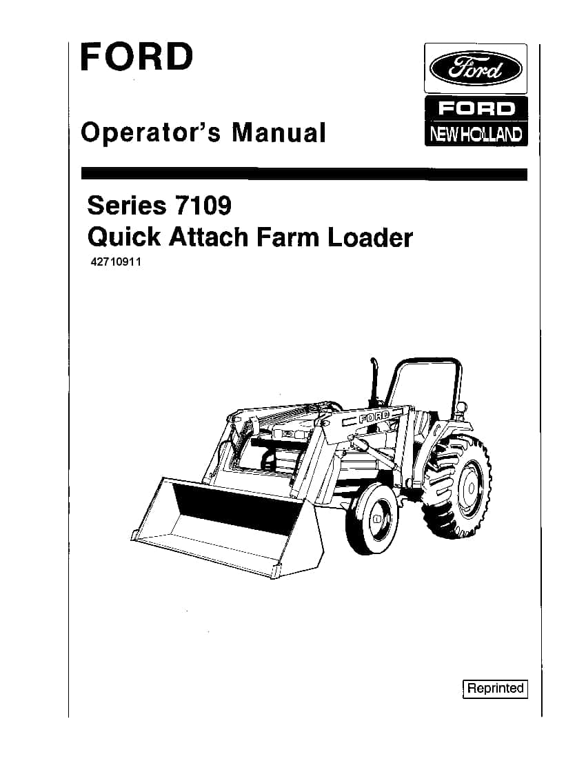New holland Ford Quick Attach Farm Loader operator manuals