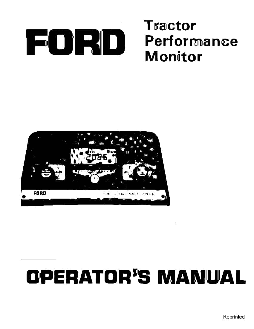 New holland Ford Tractor Performance Monitor 1984-1986