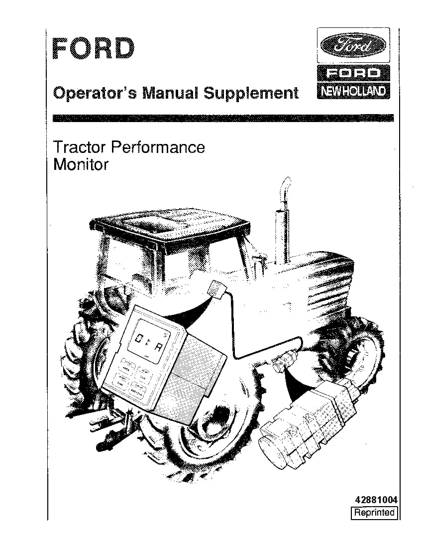 New holland Ford Tractor Performance Monitor operator