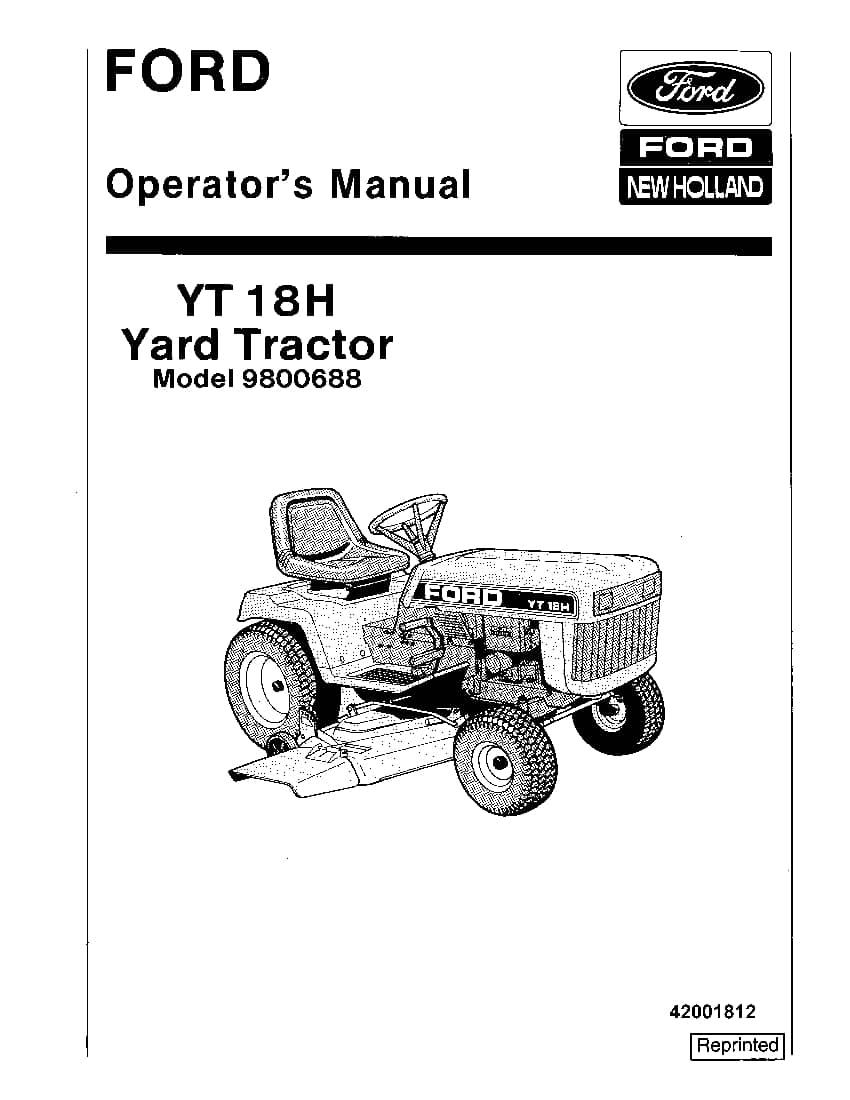 New holland Ford YT 18H Yard Tractor operator manuals PDF