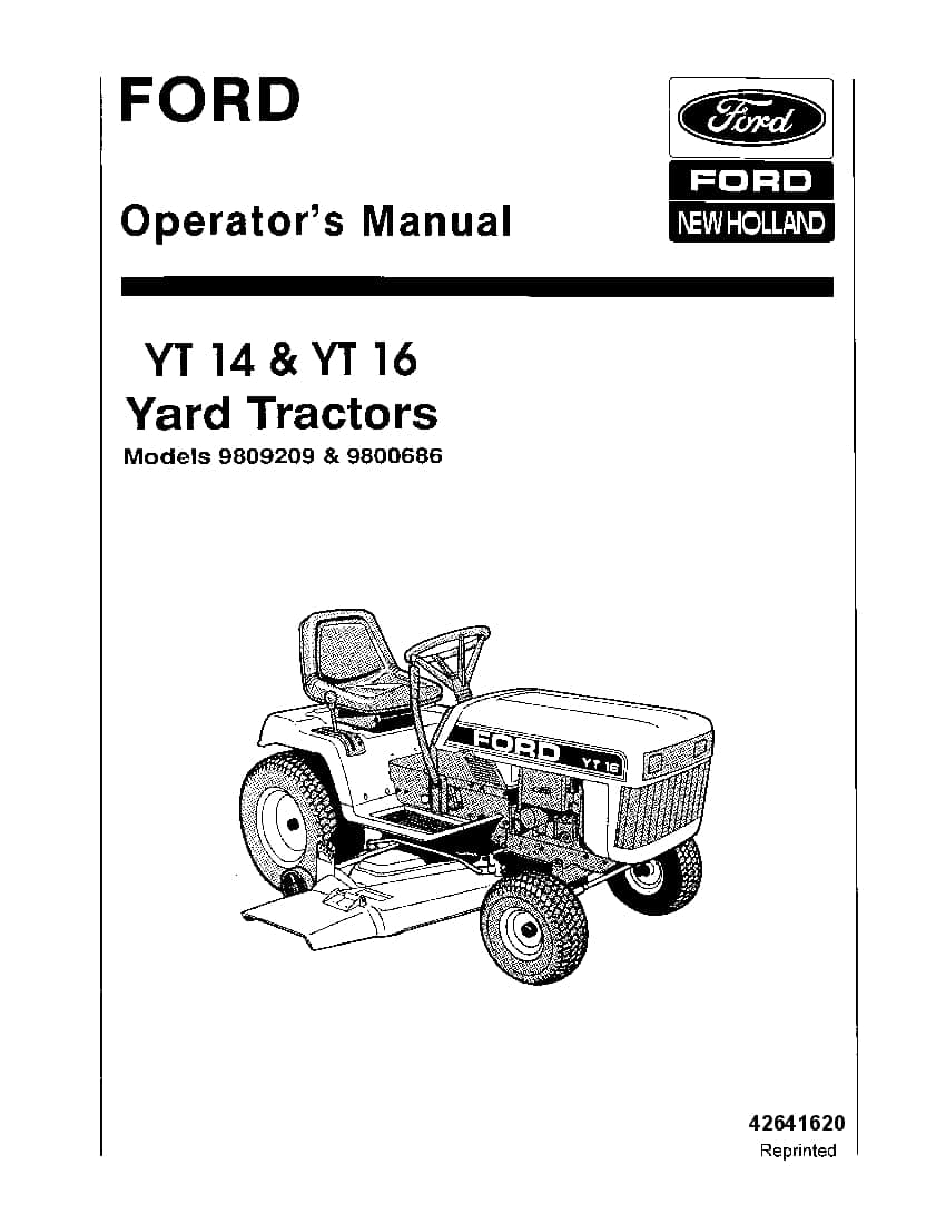 New holland Ford YT14 YT16 Yard Tractors operator manuals