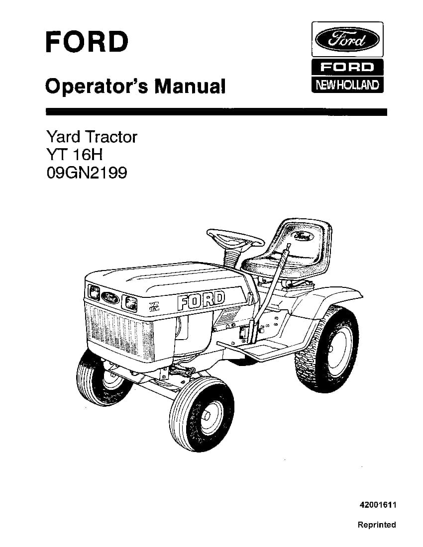 New holland Ford Yt 16h Yard Tractor operator manuals PDF