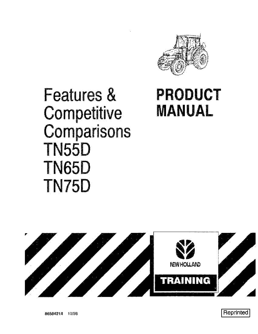 New holland TN55D, TN65D, TN75D operator manuals PDF