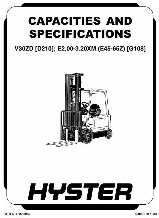 Hyster E45Z, E50Z, E55Z, E60Z, E65Z Electric Forklift