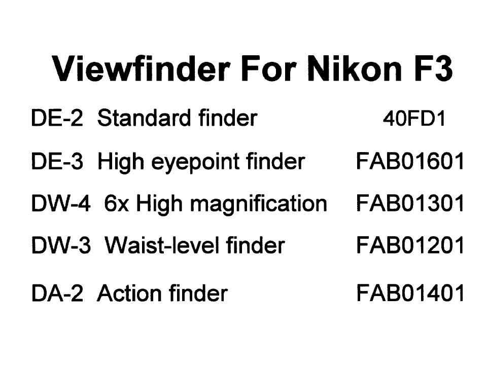 US$9.99: Nikon F, F2, F3, F4, F5, F Finder and F3 Finder