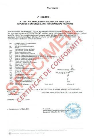 Certificat de Conformité COC Gratuit en ligne