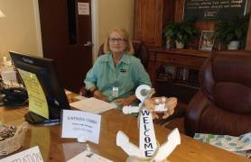 Working the front desk...