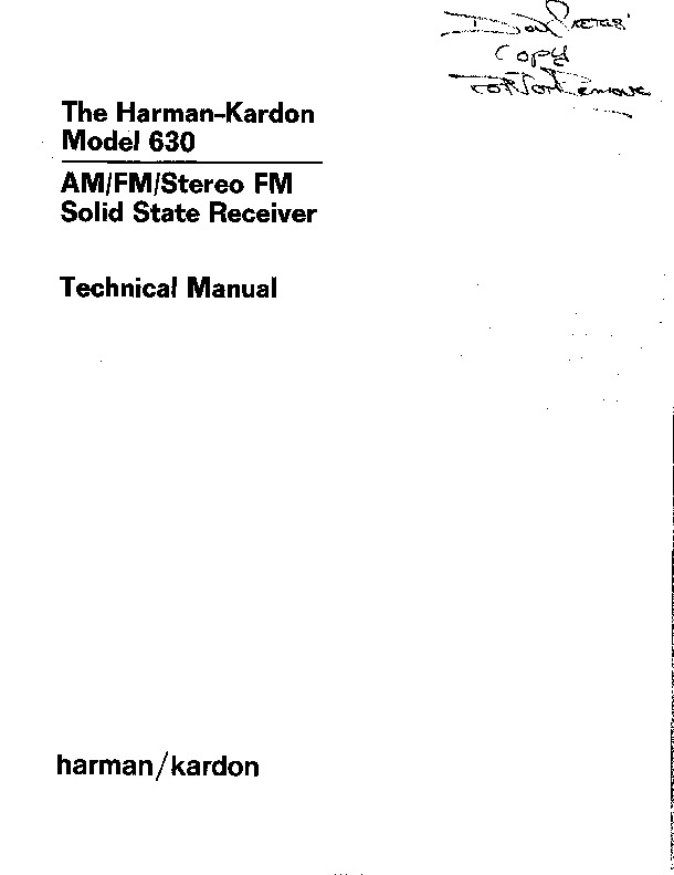 Harman Kardon HK 630 (SERV.MAN8) User Guide / Operation