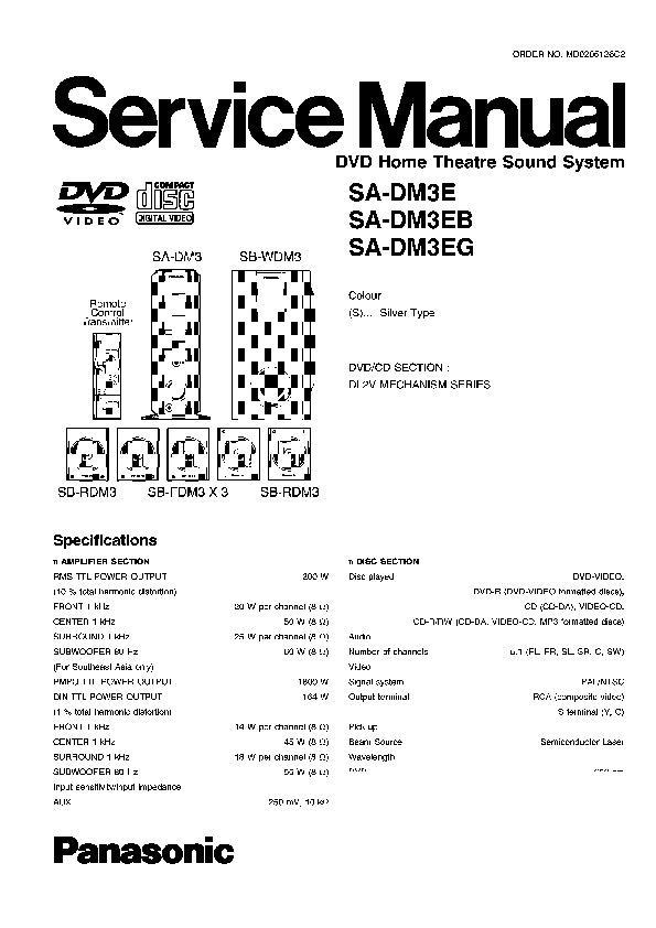 Panasonic SA-DM3P, SA-DM3PC, SA-DM3E, SA-DM3EB, SA-DM3EG