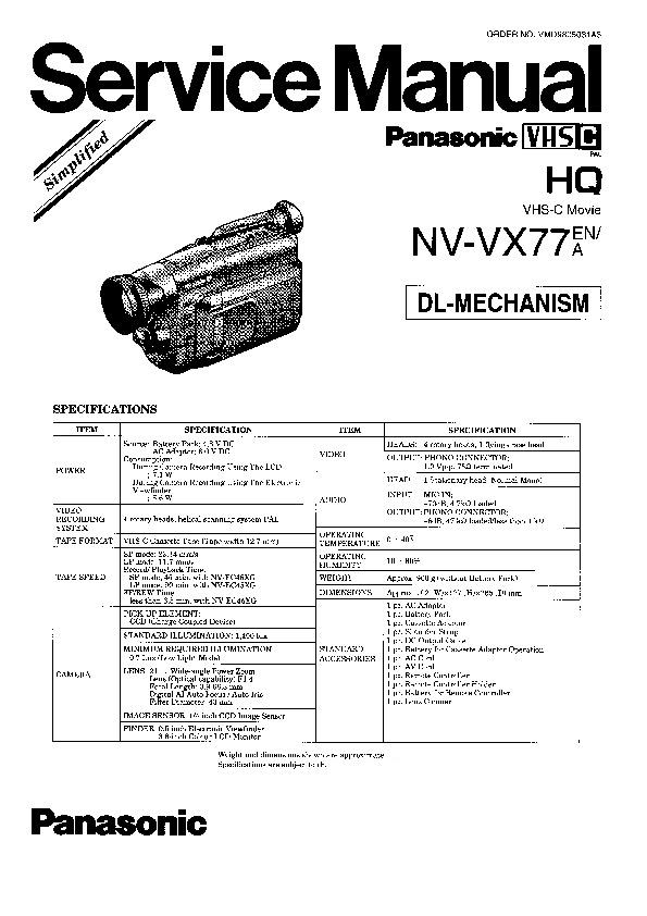 Panasonic NV-VX77EN, NV-VX77A Service Manual Simplified