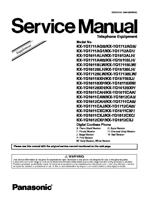 Panasonic KX-TG1611CAH, KX-TG1611CAR, KX-TG1611CAW, KX
