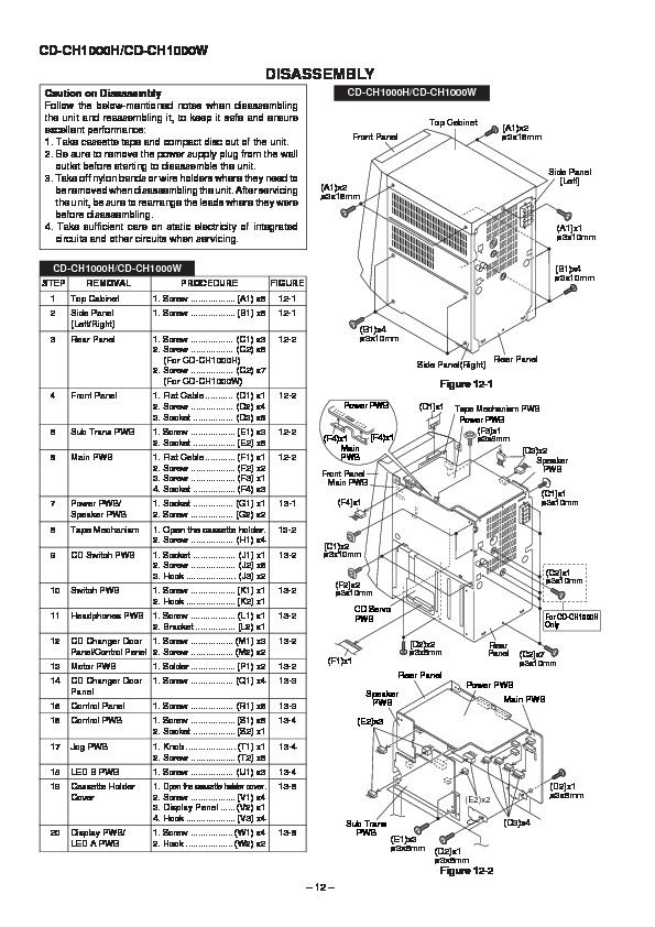 Sharp CD-CH1000 (SERV.MAN2) User Guide / Operation Manual