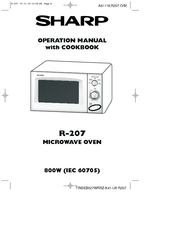 Sharp R-207 (SERV.MAN2) User Guide / Operation Manual
