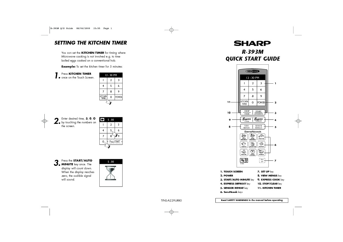 Sharp R-393 (SERV.MAN8) User Guide / Operation Manual