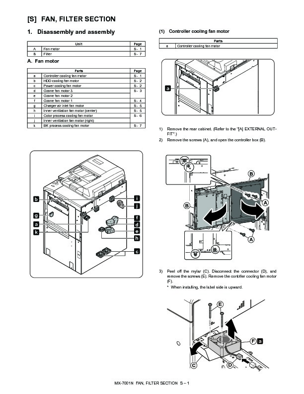 Sharp MX-6201N, MX-7001N (SERV.MAN43) Service Manual