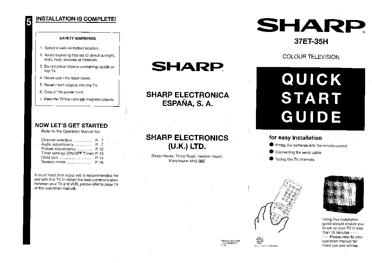 Sharp 37ET-35H (SERV.MAN7) User Guide / Operation Manual