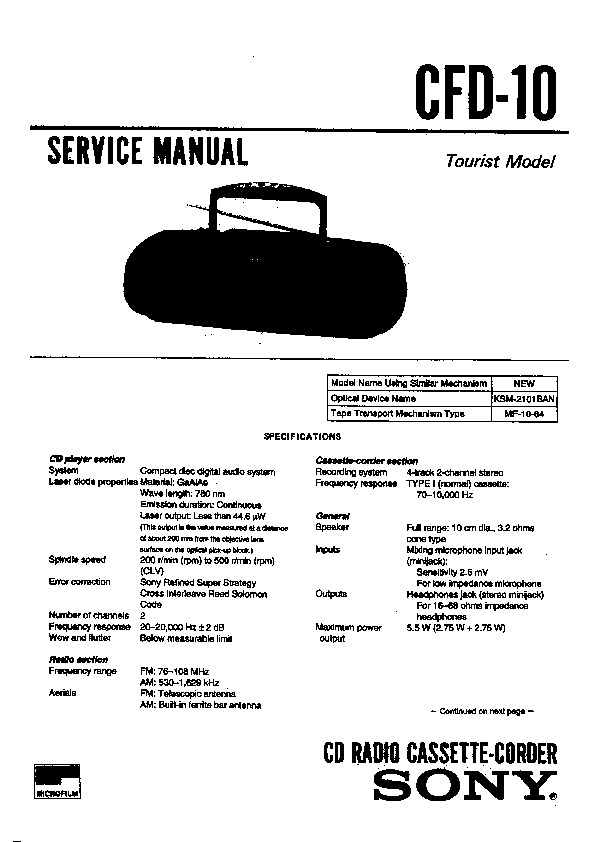 Sony CFD-10, CFD-10L, CFD-11, CFD-11L Service Manual