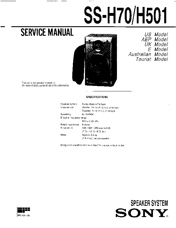 Sony FH-G50, HCD-H501, MHC-501, MHC-S200 Service Manual