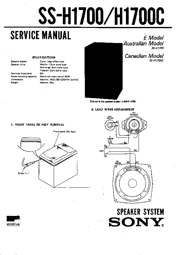 Sony FH-E656, MHC-1700, SS-H1700, SS-H1700C Service Manual