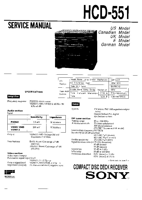 Sony HCD-551, SEN-551, SEN-551CD, SEN-R5520 Service Manual